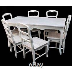 Dining Table And 6 Chairs Shabby Chic Vintage Loire French Style Antique Cream