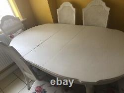 Dining table and six chairs used Shabby Chic White
