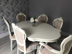Dinning room table and 6 chairs, shabby chic, vintage white, glamorous