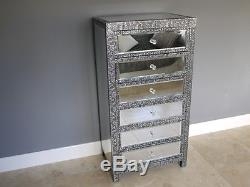 Embossed Black/ silver mirrored 6 drawer tallboy embossed shabby chic