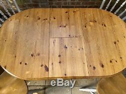 Extendable Pine Dining Table And 4 Chairs Farmhouse / Shabby Chic / Country