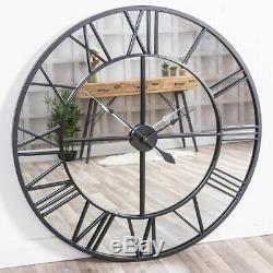 Extra Large Black Clock Mirrored Wall Mounted Huge Metal Hallway Kitchen Home