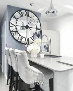 Extra Large Black Clock Mirrored Wall Mounted Metal Glass Hallway Kitchen 120cm