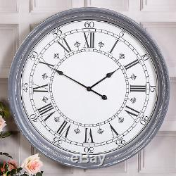Extra Large Grey Wall Clock Antique Shabby Vintage Chic Rustic Lounge Home Decor