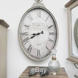 Extra Large Shabby Chic Oval Wall Clock Antique Cream Pocket Watch Vintage