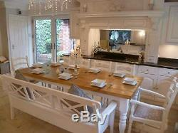 Farmhouse Dining Table 6 Chairs Storage Bench Bespoke Rustic Large Shabby Chic