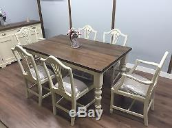 FARMHOUSE KITCHEN Table And 6 Chairs Shabby Chic NEW Rustic Thick Pine Top