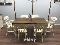 FARMHOUSE SHABBY CHIC Table 6 Chairs Rustic OAK PINE DINING Set Country Cottage