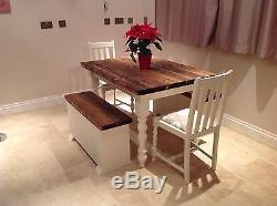 FARMHOUSE Table RUSTIC Shabby Chic Painted PINE 2 OAK Chairs 2 Storage Benches