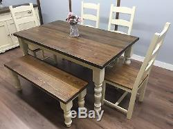 FARMHOUSE Table and Chairs Bench RUSTIC OAK PINE Shabby Chic NEW HANDMADE