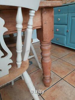 FURTHER REDUCTION! NEED SPACE Shabby chic solid wood dining table and 4 chairs