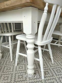 Farmhouse Pine Dining Table and 4 Chairs Shabby Chic