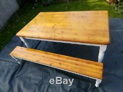 Farmhouse Shabby Chic Dining Table, & Bench seats