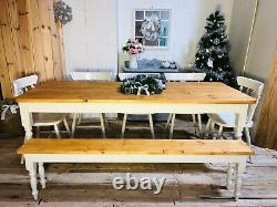 Farmhouse Shabby Chic Rustic 6ft Dining Table, Chairs & Bench Oak Pine 8 Seater