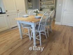 Farmhouse Vintage Pine Kitchen Dining Table & 4 Windsor Chairs, Shabby Chic