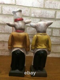 French CHEF PIG Statues (pair) Vintage Kitchen Decor Shabby Chic Home Farmhouse