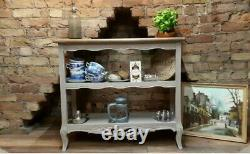 French Country Shabby Chic Linen Kitchen Hall Console Table Book Shelves