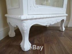 French Display Cabinet In White Shabby Chic Single Door Glass Display