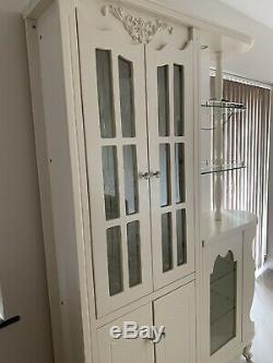French Display Cabinet Shabby Chic Furniture Ivory Glass Door Tall Storage Unit
