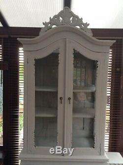 French Grey Glazed Cabinet Armoire Linen Cupboard shabby chic