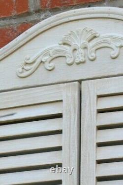 French Shabby Chic Garden Mirror with Wooden Shutters-Distressed White-M34W