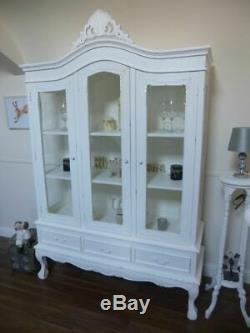 French Shabby Chic Style Three Door Display Cabinet In White