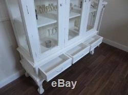 French Shabby Chic Three Door Display Cabinet In White
