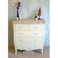 French Style Devon 5 Drawer Chest of Drawers Shabby Chic Cream Painted Finish