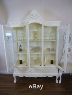 French Style Display Cabinet Three Door Shabby Chic Display Unit