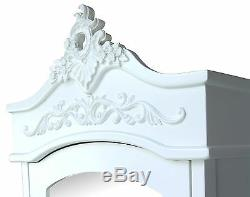 French White Chateau Single Armoire with Full Mirror Door Shabby Chic Wardrobe