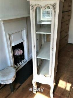 French antique style vintage shabby chic glass display cabinet