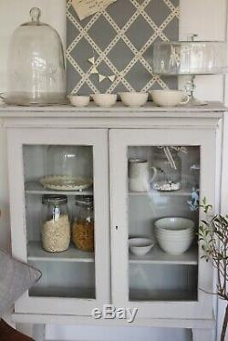 French style grey Glass Display Cabinet Painted Shabby chic soft grey