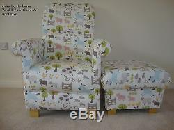 Fryetts Patchwork Pink Teacups Fabric Adult Chair & Footstool Shabby Chic Spots