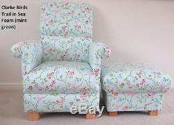 Fryetts Vintage Patchwork Pink Fabric Chair & Footstool Shabby Chic Nursery Spot