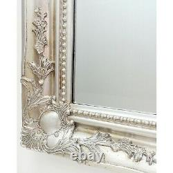 Gilroy Extra Large Shabby Chic Antique Silver Overmantle Wall Mirror 113 x 89cm