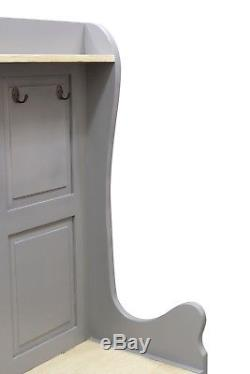 Grey Painted Monks Bench Storage Hallway Coat Stand Shabby Chic Storm Grey