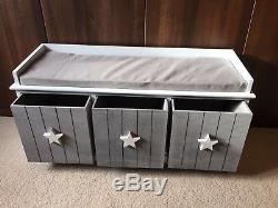 Grey Vintage Storage Bench Wooden Unit Shabby Chic Seat 3 Drawers with Cushion
