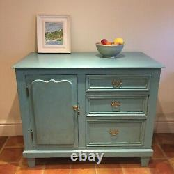 Hand Painted Shabby Chic Blue Green Victorian Pine Sideboard