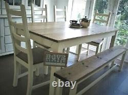 Handmade Farmhouse Table, Chairs and Bench Set, Pine board Top, Shabby Chic