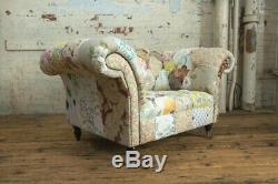 Handmade Unique Shabby Chic Floral Fabric Patchwork Chesterfield Snuggle Chair