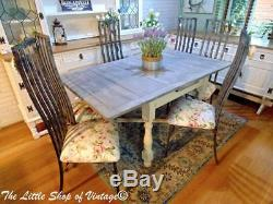 Industrial Shabby Chic Oak Extending Dining Table and 6 Metal Large Chairs ASCP