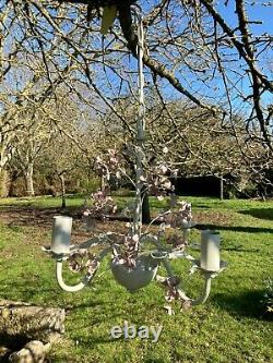 LAURA ASHLEY CHANDELIER BLOSSOM shabby chic FRENCH TOLEWARE ceiling LIGHT rare