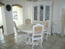 Large 5 Foot Distressed Off-White Shabby Chic Kitchen Dining Table and 4 Chairs
