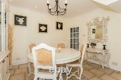 Large 5 Foot Distressed White Shabby Chic Kitchen Dining Table and 4 Chairs