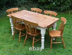 Large 5ft farmhouse kitchen pine table 6 fiddleback chairs cream shabby chic