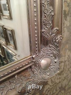 Large Antique Silver shabby chic ornate Decorative Mirror Save ££s NEW
