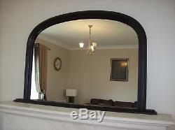 Large BLACK Arched Over Mantle Mirror 47x31 120cm x 79cm Save ££s Insured p&p