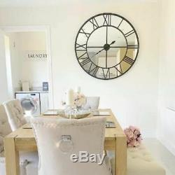 Large Black Clock Mirrored Wall Mounted Metal Glass Hallway Kitchen Home Chic