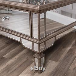 Large Champagne Gold Mirrored Coffee Table Unit Glass Venetian Home Furniture