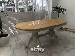 Large Chunky Solid Wood Farmhouse Table 8 Chairs Shabby Chic/Dining Room/Kitchen